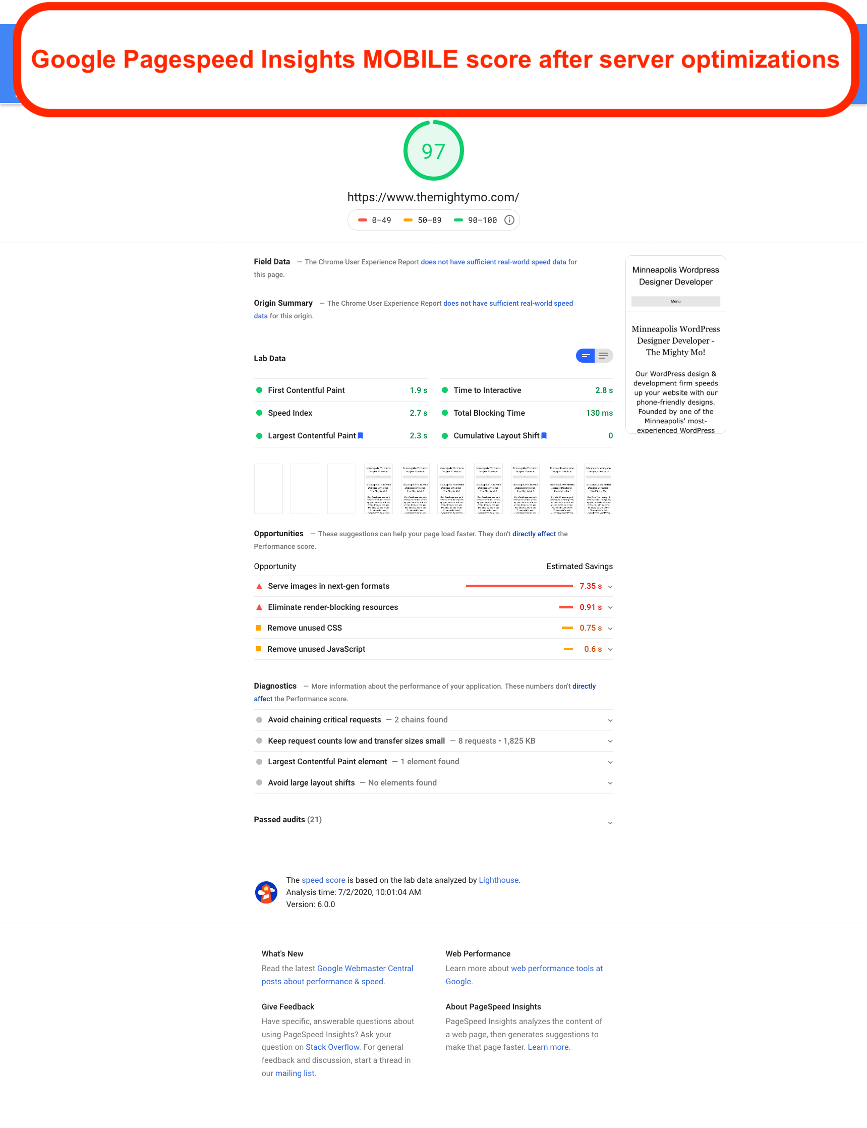 Google Pagespeed Insights MOBILE score after server optimizations